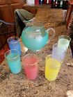 Gorgeous Mid Century Colorful Juice Ball Pitcher w/6 Glasses