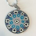 Millefiori Murano Glass Pendant Necklace Floral Mosaic 925 Sterling Silver ITALY