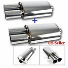 FOR JEEPS 2X USA DEEP TONE SPORT RACE OVAL EXHAUST MUFFLER  DUAL ROUND TIPS