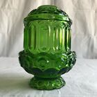 VINTAGE LE Smith Moon AND Stars GREEN GLASS CANDLE HOLDER Fairy Lamp Light