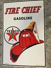 Vintage Ande Rooney Texaco Fire Chief porcelain sign 1986 Made in USA