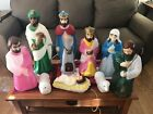 Vintage 10 pc EMPIRE Lighted Blow Mold Christmas Nativity Manger Scene Set