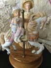 Vintage WILLITTS Melodies Porcelain Carousel Waltz Child on Horse Music Box