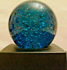 LARGE VENETIAN MURANO ART GLASS RARE BLUE TEAL Color Sphere Spectacular
