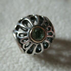 AUTHENTIC ALE PANDORA TWO TONE RETIRED PERIDOT SUNBURST AUGUST BIRTH CHARM BEAD