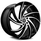 4ea 20 Staggered Lexani Wheels Twister Gloss Black Machined Rims S3