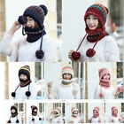 Winter Warm Knitted Hat Color Matching Fur Ball Pompom Windproof Neckerchief Cap