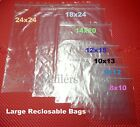 LARGE Reclosable Seal Top Clear Ziplock BIG Clothing Merchandise Storage Bags