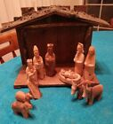 Vintage 12 PIECE WOOD NATIVITY SET Hand Carved Complete SET Wooden w Manger