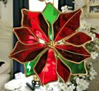 Stained Glass Christmas Holiday Poinsettia Suncatcher
