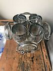 Mid Century Barware Silver Highball Glasses Ombre Coasters With Caddy Grapes.