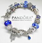 AUTHENTIC PANDORA BRACELET SILVER ANGEL WING  BLUE MURANO GLASS EUROPEAN CHARMS
