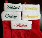 Personalized Christmas stockings Monogrammed Name EMBROIDERED plush red white