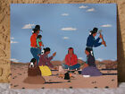 Vintage Native American Navajo Painting by Lewis Brown Cooking Over Fire Ex Cond
