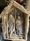 Beautiful Contemporary  Unusual Christmas Nativity Set Of Balsam Wood