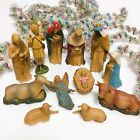 Vintage 12 pc 1960s Hard Plastic Nativity Set Hand Decorated