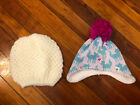Lot of 2 Girls The North Face OS Creamy Beige and Pink Deer Print Beanie Hats