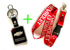 2 in 1 Combo CHEVROLET CHEVY RED Lanyard and Leather Black Key Chain