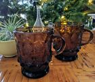 Vintage Fire King Anchor Hocking Kimberley Mug Amber Glass pair of 2