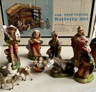 Vintage Hand Painted Nativity Set in Box 11 Piece Set Retro Christmas Decor