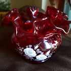 Fenton Ruby Red Ruffled Vase Handpainted  Signed Debi Lorentz 375in Floral