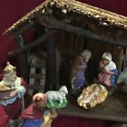 VINTAGE NATIVITY 10 pc SET WITH RUSTIC CRCHE10X14 MARKED WEST GERMANY NICE