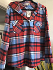 NWT Pink Rose Hooded Blue Red Plaid Shirt Size XL