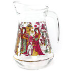 Vintage Mid Century Made in France Glass Pitcher, Medieval Men Women Graphics