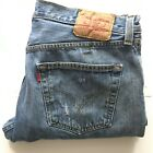 DESTROYED Levis 501 Red Tab Blue Denim 36 x 29 Button Fly faux selvedge
