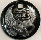 Black w chrome Live to Ride Eagle Fuel Door for 2008 2020 Harley Touring