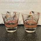 Mid Century Atomic Cocktail Glasses Low Ball Set of 2 Pink Gold