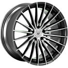 4ea 22 Staggered Lexani Wheels Ressa Black Machined Flow Forged RimsS13