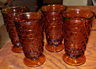 Vtg Footed AMBER Glass Tumbler Set of 4 Gold Cubist 6