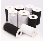 Knitted Elastic Black  White 1 4 inch made in the USA Same Day Free Shipping