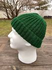 Mens Hat Ribbed Solid Hand Knit Ski Cap Dock Worker Beanie Skully Cuff Hat Green