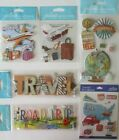 Jolees Boutique Scrapbooking Stickers Lot TRAVEL Trip Luggage Map Flight