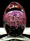 DAUM FRANCE Pink Flowers Tree Art Glass Egg Shape Paperweight  EXCELLENT
