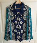 Express Womens Navy Blue Floral The Portofino Shirt Button Down Top Size Large