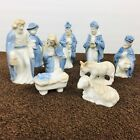 Vintage Kurt Adler Nativity Set of 9 Blue Porcelain Made in Japan