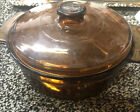 Vintage Anchor Hocking Amber Brown Glass 2 Quart Round Casserole Dish With Lid