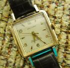 Vtg WALTHAM 25 Jewel HMV1146 Self Winding Wrist Watch w/ Black Leather Band RUNS