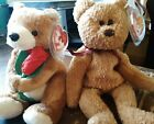 TY beanie lot 2 bears Curly tag errors & Always the Valentines Day bear w/ rose