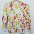 Jcrew Floral Cardigan Sweater Sz M Yellow White Red Green Flowers Cotton