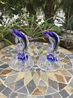 Cobalt Crystal Art Glass Dolphin Figurines