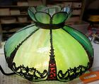 Vintage Slag Glass Stained Glass Ceiling Hanging Swag Lamp Light Shade 8 Panels