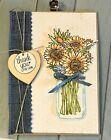 4 Jar of Flowers THANK YOU for Caring Sunflowers Greeting Card Kit Stampin Up