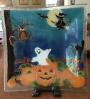 Retired Peggy Karr Deep 13 Square Bowl HALLOWEEN Witch Broomstick Pumpkin Ghost