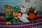 Ty Beanie Babies Lot of 4 Halloween Tricky, Alfalfa, Peter, and Quivers, w/ Tags
