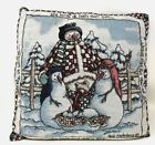 Tapestry Signed Heidi Satterberg Snowman Nativity Country Christmas Pillow 16x16