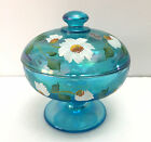 Fenton Candy Dish Celeste Blue Stretch Glass Dancing Daisies Hand Painted Signed